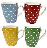 Feine Porzellan-Tassen, 4er-Sets, viele Designs - Gut verpackt - Hohe Qualität - gepunktet