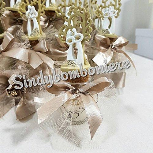 Sposi albero della vita con vasetto portaconfetti bomboniere matrimonio anfora vetro (bomboniera singola aggiuntiva)