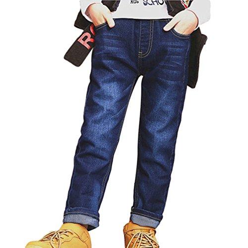 Yiiquan Kinder Jungen Jeanshose mit Waschung Elastischer Bund Jeans Frühling und Sommer Kinderjeans Größe 140