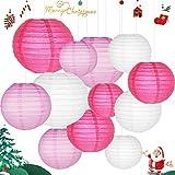 Sonnis Lanterne di carta, 12 confezioni cinese rotonda lanterna di carta da appendere, con diversi colori e dimensioni per compleanno da sposa Baby Shower festival party decorazioni