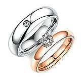 Aooaz 1 PCS Damen Ringe Rosegold Vergoldet Weiß Zirkonia Strass Ringe Gr. 54 (17.2)