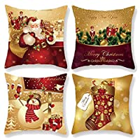 Vevins Christmas Pillow Covers 18x18 Inch, 4 Packs Cotton Throw Pillow Covers Set Cushion Case, Decorations for Sofa Bed Home,Christmas Tree/Snowflake/Reindeer/Theme Design