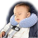 BlueBeach® Baby Kinder Aufblasbar Reisekissen Nackenkissen Extra bequem Schlaf und Weich Nackenstütze Kopfstütze Kissen für Flugzeug / Bus / Auto / Zug und Haushalt (Blau)