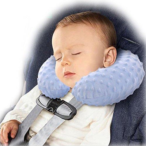 Bluebeach® bambini inflatable cuscino da viaggio gonfiabile sonno extra confortevole e supporto morbido collo poggiatesta cuscino aereo / bus / auto / treno e uso domestico (blu)