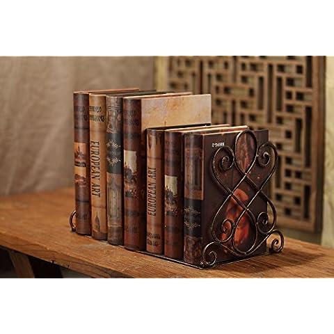 Sujeta-libros decorativos de metal en forja – Sujetalibros pesados y sólidos – estilo rustico / antiguo -