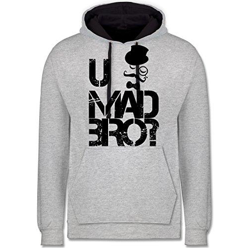 Shirtracer Hipster - U MAD BRO? - 4XL - Grau meliert/Navy Blau - JH003 - Kontrast Hoodie