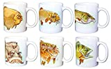 "Set of 6 Coarse Fish ""Crusty Old Coarse Fish"" 11 Ounce Earthenware Coffee Mugs. An Exclusive Original Collection by Cute Creatures Ltd."
