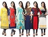 1 Stop Fashion Women's Crepe Straight Kurta (Jumbo6-XL_Multicoloured_x-Large)