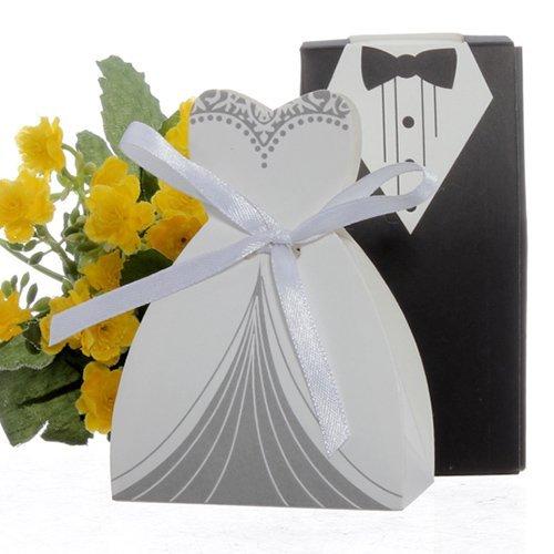 100 x Hochzeit Gastgeschenk Schachtel Bonbon Box Geburtstag Süß Schwarz/Weiß