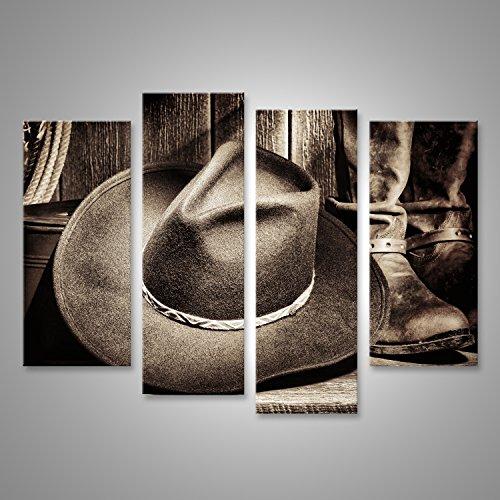 Bild Bilder auf Leinwand American West Rodeo Cowboy Filz Hut und authentischen Leder Western Reitstiefel mit Vintage Ranching Ausrüstung auf verwitterten Holzboden in einer alten Ranch Scheune Verschiedene Formate ! (Authentische Hüte Cowboy)