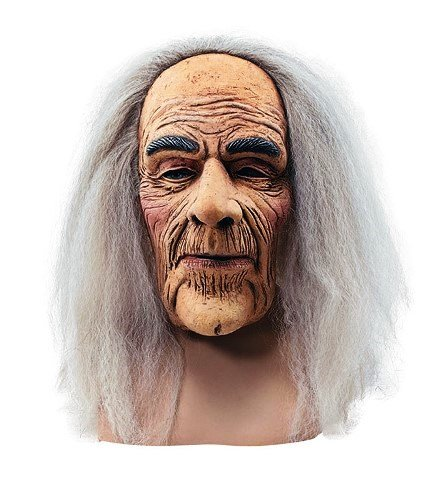 Old Man Creepy Rubber Adult Fancy Dress Mask & Hair by Parties (Mad Kostüm Men Party)