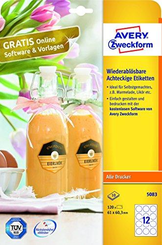AVERY Zweckform 5083 Flaschenetiketten (ablösbar, 61 x 60,3mm auf A4, Achteckig, ideal für Einmachgläser, Gewürzgläser, Likörflaschen, Selbstgemachtes aus der Küche, 120 Aufkleber auf 10 Blatt) weiß