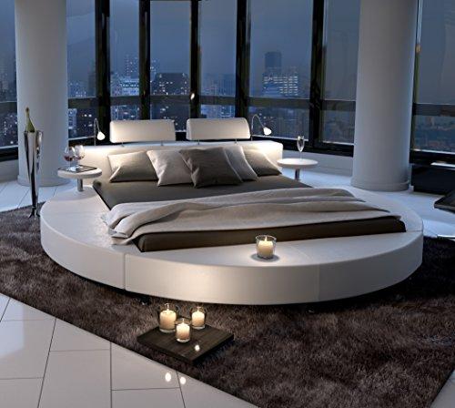 SAM® Polsterbett in weiß, Rundbett mit gepolstertem Kopfteil, Beleuchtung und Zwei Nachttischablagen, Bettgestell auch als Wasserbett verwendbar, 180 x 200 cm [521477] -