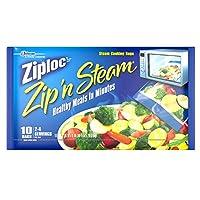 Ziploc ZipN Steam Cooking Bags, Medium, 10-Count (Pack of 12)