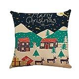 Kissenbezug Rückenkissen Xmas Cotton Leinen Fashion Kissenbezug Leinen Kissenbezug Frohe Weihnachten Home Decoration Sitzkissen Moonuy