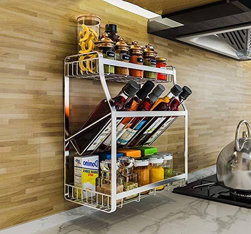 Supports de rangement pour la cuisine avec 3 niveaux inox - Parfait pour les conserves ou les pots à herbes et à épices - Argent