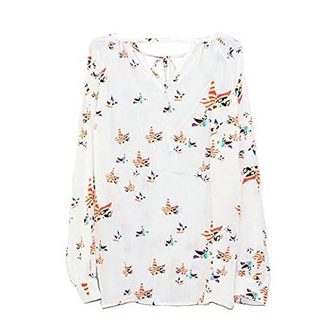 CYBERRY.M Femme Fille Manches Longues Lâche Animal Imprimé Chemise Blouse T-shirt Top (XL, Blanc)