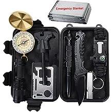 Kit de Supervivencia Profesional, Xuanlan 10 Piezas Outdoor Caminata Campamento Campamento de Emergencia Kit de Supervivencia con Fire Starter Saber Card Lanar Silbato (Set 2)