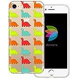 dessana Süße Dinos transparente Silikon TPU Schutzhülle 0,7mm dünne Handy Tasche Soft Case für Apple iPhone 7 Dino Pattern