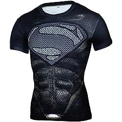 Camiseta Fitness Compresion Hombre con Dibujos de Superheroes para Entrenar y Hacer Deporte. Licras (Superman Oscura) - M