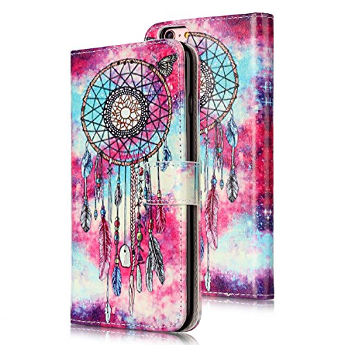 iPhone 6S Custoida in Pelle Portafoglio,iPhone 6 Cover Pu Wallet,KunyFond Lusso Moda Marmo Dipinto Leather Flip Protective Cover con Bella Modello Cover Custodia per iPhone 6/6S 4.7 Ultra Slim Folio B Butterfly Campanula