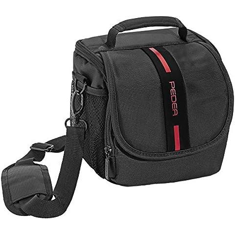PEDEA bolsa para Canon EOS 1000D / 450D / 400D / 100D / 70D / 30D, Nikon D5300 / D5500 con el protector de la pantalla Negro / Rojo