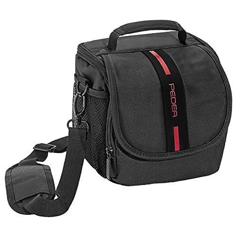 PEDEA SLR-Kameratasche mit Regenschutz und Displayschutz für Nikon D500, D610, D3300, D3400, D5300, D7100, D7200 / Canon EOS 1300D, 5D Mark II (Größe M), rot