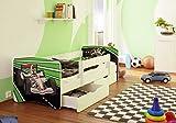 Best For Kids Kinderbett mit Rausfallschutz 2 Schubladen Lattenrost 10 cm Matratze TÜV Zertifiziert Kinderbett für Mädchen und Jungen in 4 Größen viele Motive