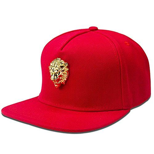 mcsays Gorrra estilo Hip Hop con León dorado, de algodón rojo rosso Talla única