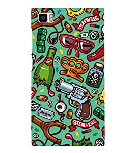 GREEN ABSTRACT PATTERN WITH MULTIPLE PICS 3D Hard Polycarbonate Designer Back Case Cover for Xiaomi Redmi Mi3 :: Xiaomi Mi 3
