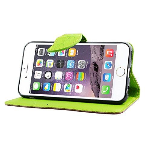 GrandEver Flip Holster Blättern Brieftasche Handy-Taschen für iPhone 5C Standfunktion und Karten Handy-Leder für iPhone 5C Bookstyle mit Magnetverschluss Standfunktion und Karten Slot Handy Hülle (Hül Braun