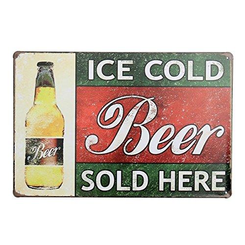 Bluelover Cerveza fría de hielo aquí Tin firma placa de metal vintage cartel bar pub casa pared