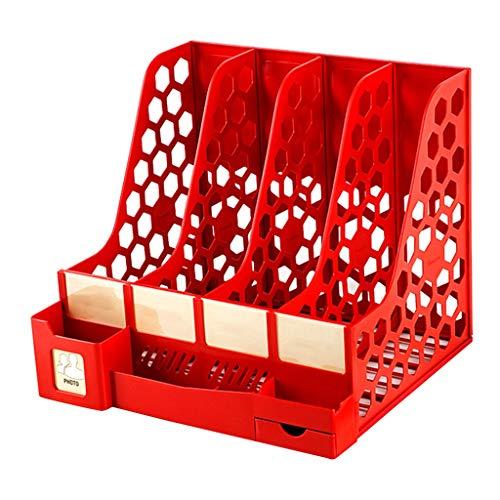 Portariviste in plastica A4 con 4 Scomparti Portariviste da Tavolo con portapenne, Organizer for archiviazione File Ufficio for Documenti, Libri, Posta e giornali, Rosso
