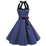 TUDUZ Party Prom Swing Kleid Ärmellos Neckholder Rockabilly 50er Vintage Retro Kleid Petticoat Faltenrock