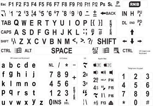 Large print keyboard stickers - black on white