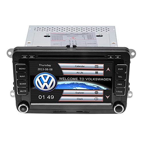 Podofo Autoradio Stéréo 7 Pouces HD Ecran Tactile Lecteur de Radio DVD Navigation GPS Bluetooth Support Télécommande Stéréo, AVI, FM, USB, MP4, MP3, USB, CD, AUX, FM, iPod, iPhone Pour...