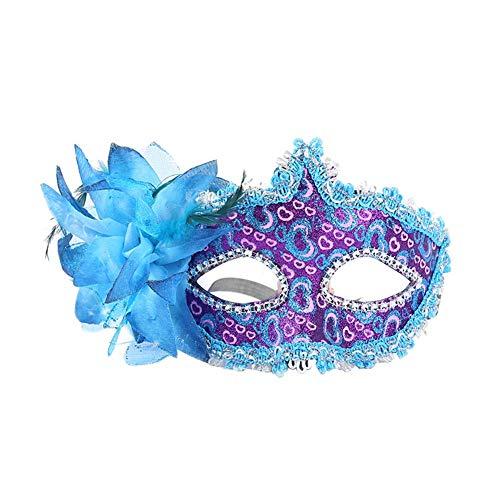 Kostüm Blaue Elf - Squenve Halloween-Maske aus Leder, Herzform, seitliche Blumen, Kopfbedeckung, Party-Maske, Maskerade, Requisiten, Vintage-Stil, römischer Stil, Halloween-Kostüm, blau, 17.5 * 11CM