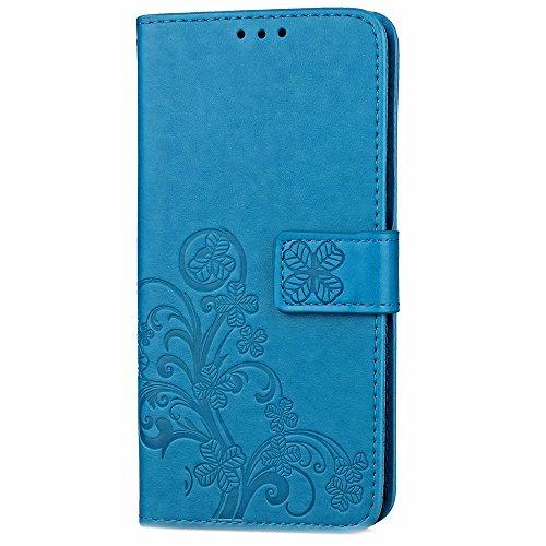 Für LG Spirit Case Cover, Lucky Clover geprägte Blume PU Ledertasche mit seitlichen Schnalle Wallet Case mit Lanyard & Halter & Card Slots ( Color : Rose ) Blue