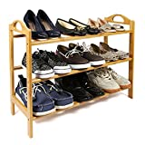 woodluv 3-Tier Natural Bamboo Shoe Rack Storage Holder Organizer