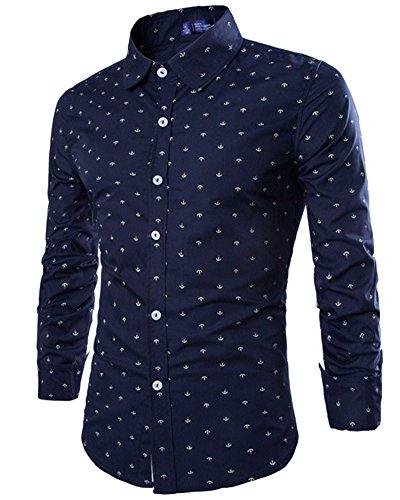 Camisa Básico Hombre Camisas de Manga Larga Slim Fit Shirts Azul Oscuro XL