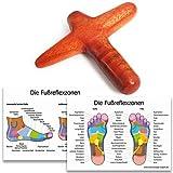 Massageholz Kreuz/Massagekreuz als Massagehilfe mit 2 DIN A4 Plakaten für Reflexzonen Massage Triggerpunkte aus Hartholz - MyThaiMassage -