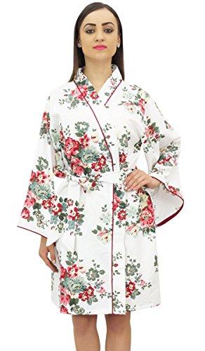 Bimba Floral Printed Braut Voller Aermel Kimono Robe mit Guertel Coverup Wrap - 58