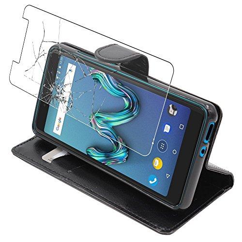 Ebeststar - cover wiko tommy 3 custodia portafoglio pelle pu protezione libro flip, nero + pellicola vetro temperato [apparecchio: 149 x 71.8 x 9.3mm, 5.0'']