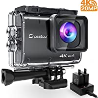 Crosstour Upgraded 4K/50fps Action Camera Real 4K 20MP WIFI Underwater Cam 40M with EIS Anti-Shake Time-Lapse Recording Plus 2 Rechargeable 1350mAh Batteries and USB Charger and Accessories