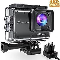 Crosstour CT9500 Nativo 4K50FPS Action Cam 20MP WiFi Action Camera(40M Impermeabile Fotocamera Subacquea, EIS e Vista Regolabile Angolo, 2 x1350mAh Batterie e Kit di Accessori)
