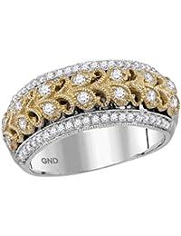 726d7a59a8a3 14 K Bicolor Oro Blanco Redondo Diamante Filigrana Anillo Banda 3 8 quilates