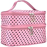 Portable Double Layer Traveling Cosmetic Organizer Dots Toiletry Bag With 2 Zipper Holder