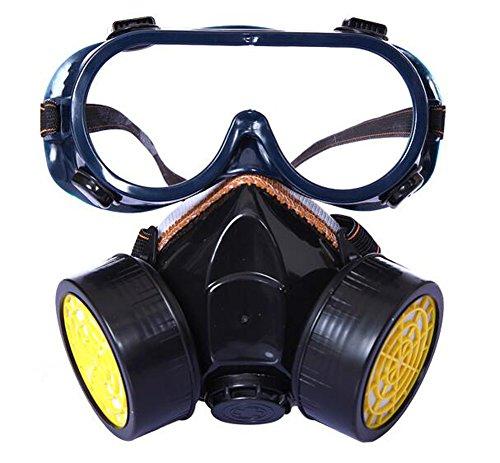 Profi Atemschutzmaske Staubschutzmaske Schutz Halbmaske mit 2 Filtern für Farbspritz, Staub, Chemikalien, Schleifarbeiten,Pestizide Schutz Geruchsminderung (Gelb mit Schutzbrille)