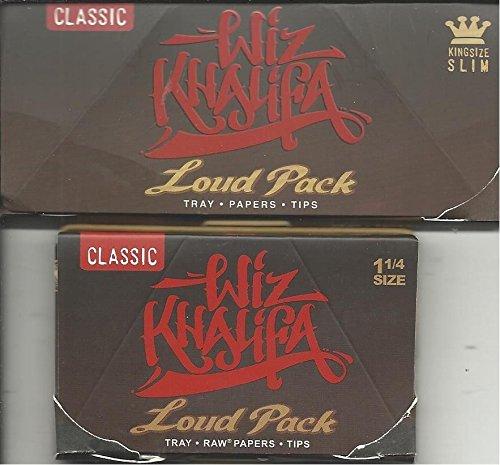 Wiz Khalifa Artesano Stil laut–1-Pack von King Size Slim und 1Stück 1–1/4Größe COMBO Raw Classic Zigarettenpapier + Tips + Tablett (Neue Produkt von Raw)–insgesamt 2Heftchen Combo Pack-tray