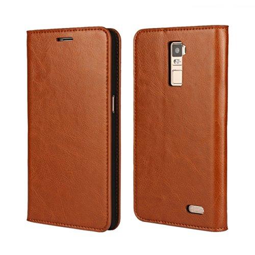 Banath Hülle für Oppo R7 Plus, PU Lederhülle Handyhülle Brieftasche[Stoßfest][Kreditkarten Slot][Magnetverschluss] Handy Schutzhülle Flip Cover(Braun)